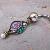 Gold Belly Button Rings Boho Purple and Teal Belly Button Ring