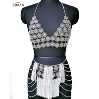 Metallic Flower Body Chain Cami Top and Fringe Skirt