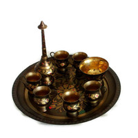 Vintage rose water sprinkler SET serving tray, bowl, 6 tiny cups BRASS perfume FOUNTAIN North African, Bedouin, Islamic scent dispenser