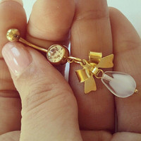 Bow Belly Button Ring Navel Jewelry Piercing Gold by Azeetadesigns