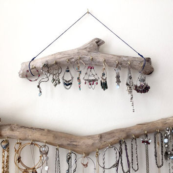 Driftwood Jewelry Organizer Rack Necklace Hanger Holder Hanging Wall Display - Boho Bohemian Functional Storage Decor Gift