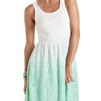 White Combo Dip-Dye Lace Skater Dress by Charlotte Russe