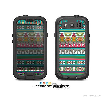 The Tribal Vector Green & Pink Abstract Pattern V3 Skin For The Samsung Galaxy S3 LifeProof Case