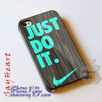 iphone case just do it wood mint iphone 4/4s case, iphone 5 case, samsung s3 i9300, samsung s4 i9500, cover plastic