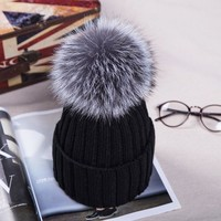 12cm real fox fur ball cap pom poms winter hat for women girl 's wool hat knitted cotton beanies cap brand thick new female cap