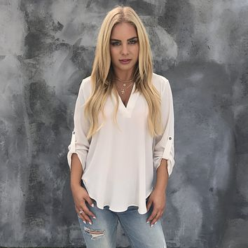 Nine to Five 3/4 Sleeve Blouse in Cream