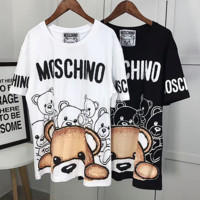 ''MOSCHINO''Hot letters print Lovely T-shirt top