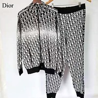 DIOR New fashion more letter print long sleeve coat and pants two piece suit