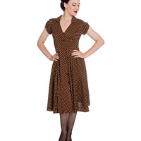 Hell Bunny 1940s Style Brown & Cream Polka Dot Harriet Swing Dress