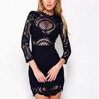 Quarter Sleeve Lace Detailed Mini Dress