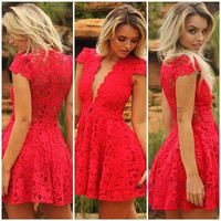 Red Crochet Lace V-Neck Cap Sleeve Skater Mini Dress
