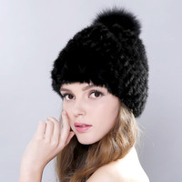 New Lovely Real Mink Fur Hat For Women Winter Knitted Mink Fur Beanies Cap With Fox Fur Pom Poms Brand New Thick Female Cap