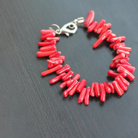 Spiked African Coral Bead Bracelet