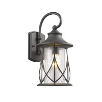 """MARHAUS Transitional 1 Light Black Outdoor Wall Sconce 15"""" Height"""