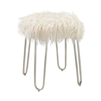 Betty Retro Stool White Faux Fur With Silver