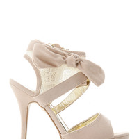 Lace Ankle  Bow Heels