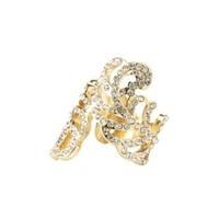 Gold Rhinestone Feather Wrap Ring by Charlotte Russe