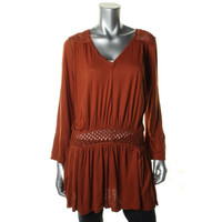 Free People Womens Linen Blend Long Sleeves Casual Dress