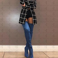 New Classic Sexy Over The Knee Boots High Heels Denim Thigh High Boots Women Pointed Toe Shoes Woman
