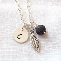 Personalized Leaf Diffuser Necklace ~ Sterling Silver, Nature Jewelry, Black Lava Stone, Essential Oil Diffuser Jewelry ~ MADE TO ORDER