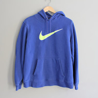 Nike Hoodie Big Logo Blue Fleece Lining Cotton Sweatshirt Baggy Slouchy Pullover Vintage Minimalist 90s Sweater Size L #T175A