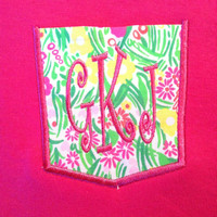Lilly Pulitzer monogram frocket tee shirt by TheMonogrammingQueen