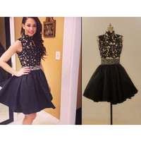 Black Lace Short Homecoming Dresses