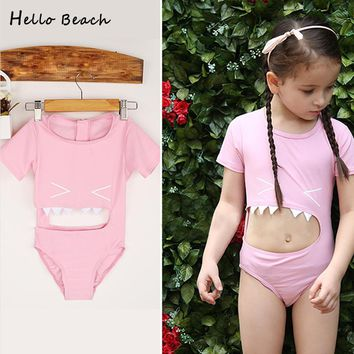 Shark Style Children Swimming Suit Girl Child Swimwear Baby One Piece Swimsuits Kids Bathing Suits With Cap