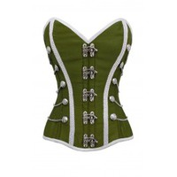ND-163 - Parrot Green Corset with Buckle Fastening and Button Detail