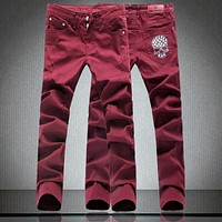 Skull Wine red jeans male slim long