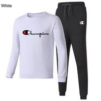 Champion 2018 autumn and winter new casual sports men and women two-piece suit white