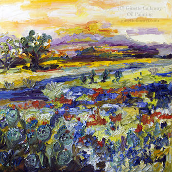 Texas Hill Country 20 by 20 inch Original Impressionist Oil Painting on Canvas by Ginette Callaway