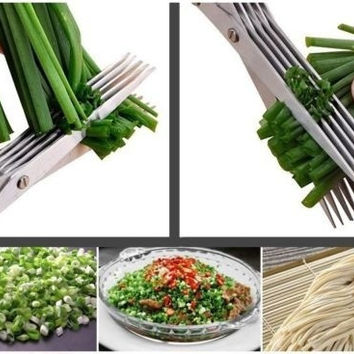 Hand Scissors Shredded Shredding Kitchen Cutter Protect Security Stainless Steel Multifunctional 5 Layers Shears Blade (Color: Green) = 1652467524