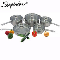 SUPERIOR 10-PIECE STAINLESS STEEL COOKWARE SET