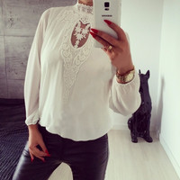 Turtleneck Lace Spliced Chiffon Top