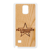 Carved on Wood Effect_Celebrity Hater White Hard Plastic Case for Galaxy Note 4 by Chargrilled