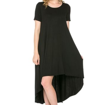 Short Sleeve Hi-Low Knit Dress