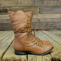 Emory Scalloped Lace Up Military Combat Boots Tan