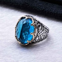 Light blue zirconia gemstone with king crown 925k sterling silver mens ring