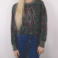 Vintage Marled Tribal Print Sweater