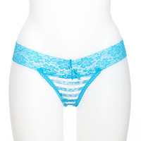 Striped Lace Thong Panties with Lace Band