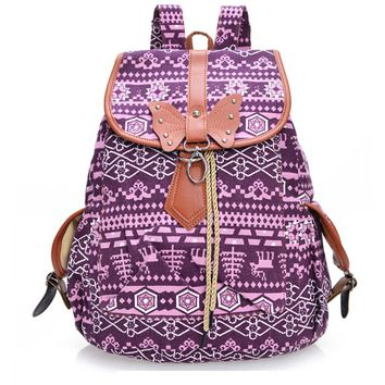 Casual Ethnic Purple Canvas Backpack