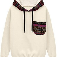 Sheinside Women's White Color Block Hooded Long Sleeve Fleece Sweatshirt with Pocket