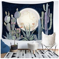 Rising Cactus Moon Tapestry 51x59inches