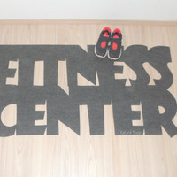 """Gym mat. Personalized rug """"Fitness center""""."""