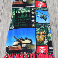 Military US Marines NEW Digital Patch Print Custom Made Fleece Throw Blanket