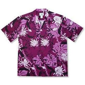 punahou purple hawaiian cotton shirt