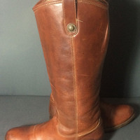 FRYE 77167 Melissa Button Brown Leather Riding Biker Motorcycle Boots Women's Size 8