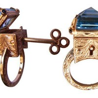 Topaz Locking Poison Ring with Key on Chain in 9ct Yellow Gold