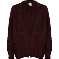 River Island Womens Dark red cable knit cardigan